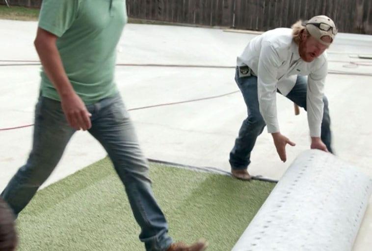 ForeverLawn Wichita Falls and Chip Gaines installing Playground Grass