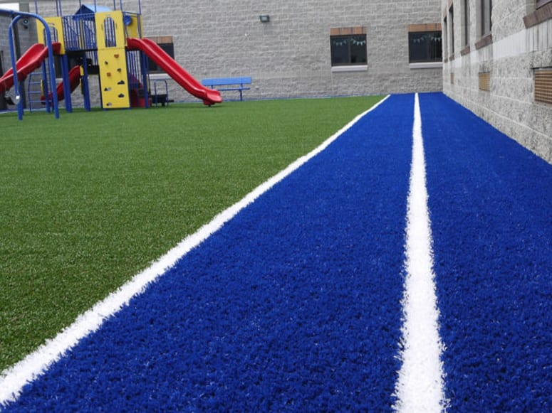 Blackhawk Christian School playground with four square court designed into Playground Grass® Academy installed by ForeverLawn of Ohio