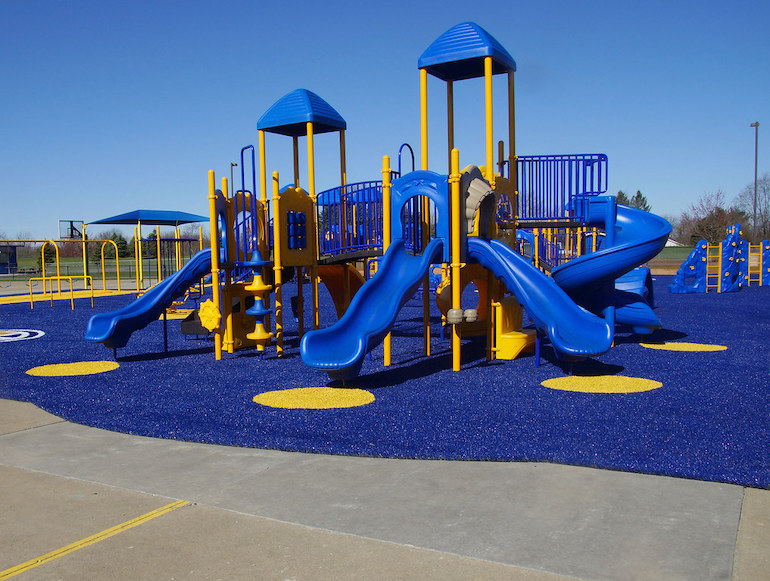 Playground Grass synthetic turf installed at Lake Center Christian School by ForeverLawn NEO